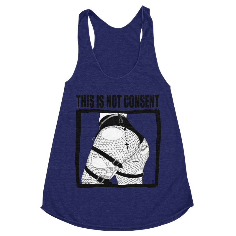 This is not consent (various colors) Women's Racerback Triblend Tank by ZOMBIETEETH