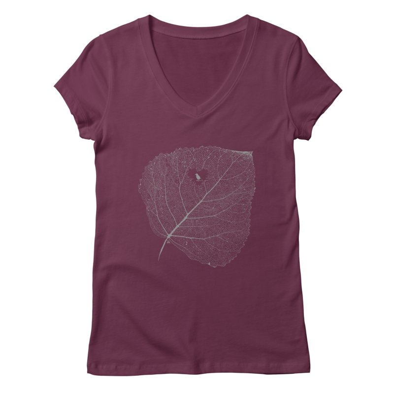 Ghost of Leaf and Feather Women's Regular V-Neck by zomboy's Artist Shop