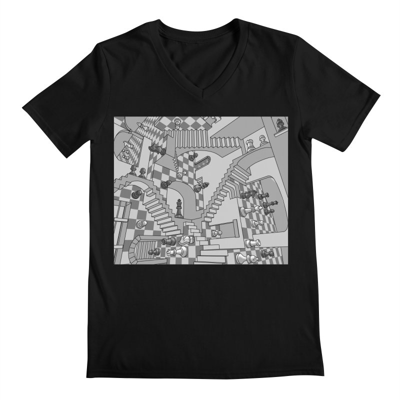 Check Men's Regular V-Neck by zomboy's Artist Shop