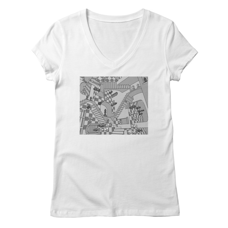 Check Women's V-Neck by zomboy's Artist Shop