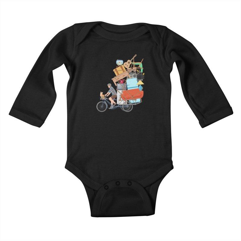 Life on the move Kids Baby Longsleeve Bodysuit by zomboy's Artist Shop