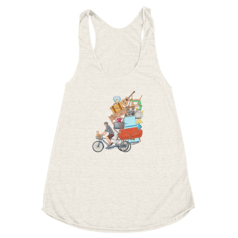 Life on the move Women's Racerback Triblend Tank by zomboy's Artist Shop