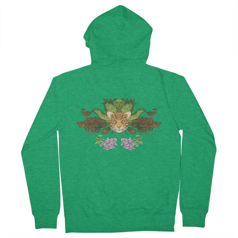 Jaguar flower Men's Zip-Up Hoody by Aaron Zonka's Artist Shop