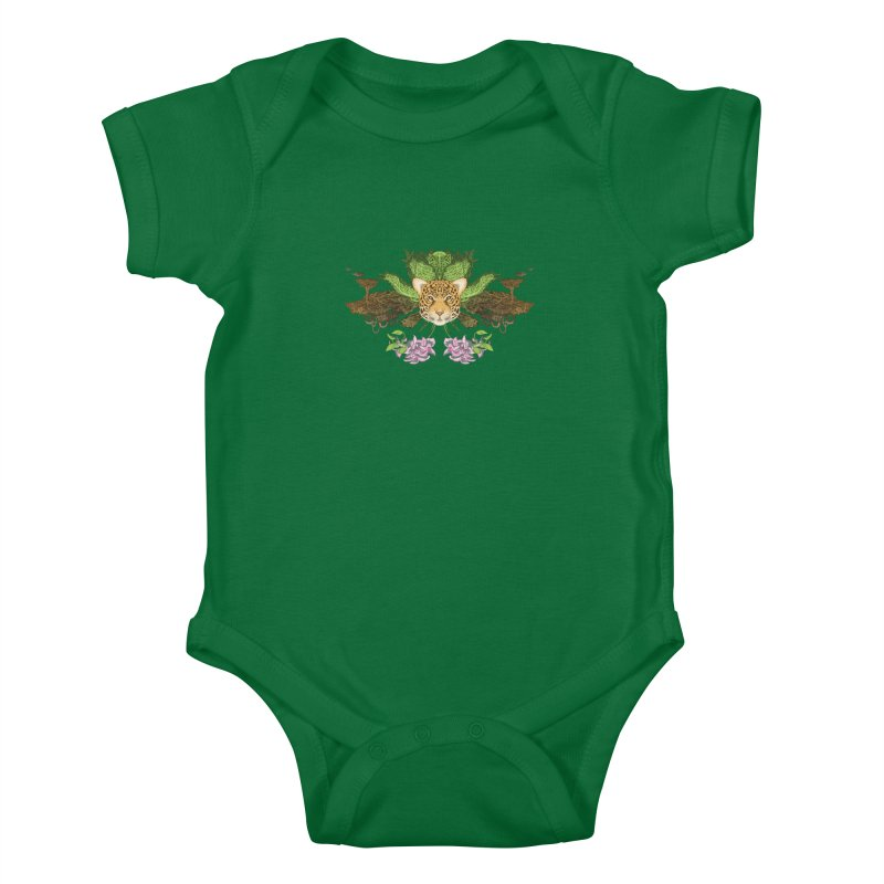 Jaguar flower Kids Baby Bodysuit by Aaron Zonka's Artist Shop