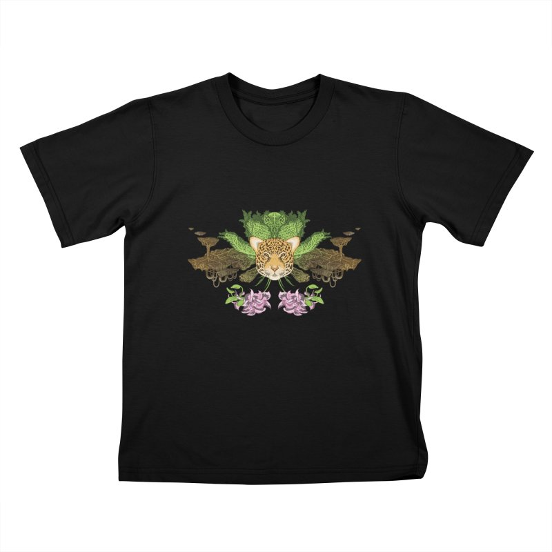 Jaguar flower Kids T-shirt by zonka's Artist Shop