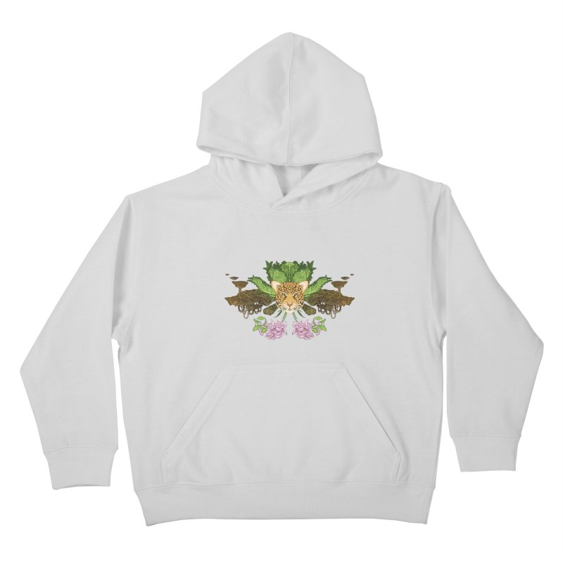 Jaguar flower Kids Pullover Hoody by zonka's Artist Shop