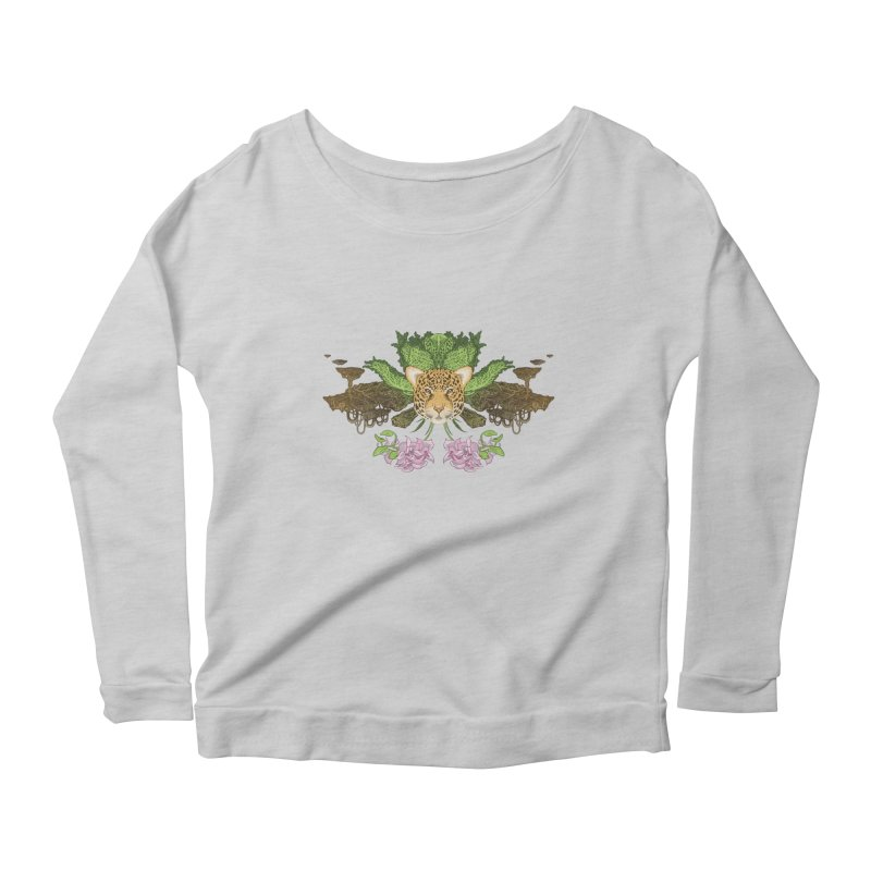 Jaguar flower Women's Scoop Neck Longsleeve T-Shirt by zonka's Artist Shop