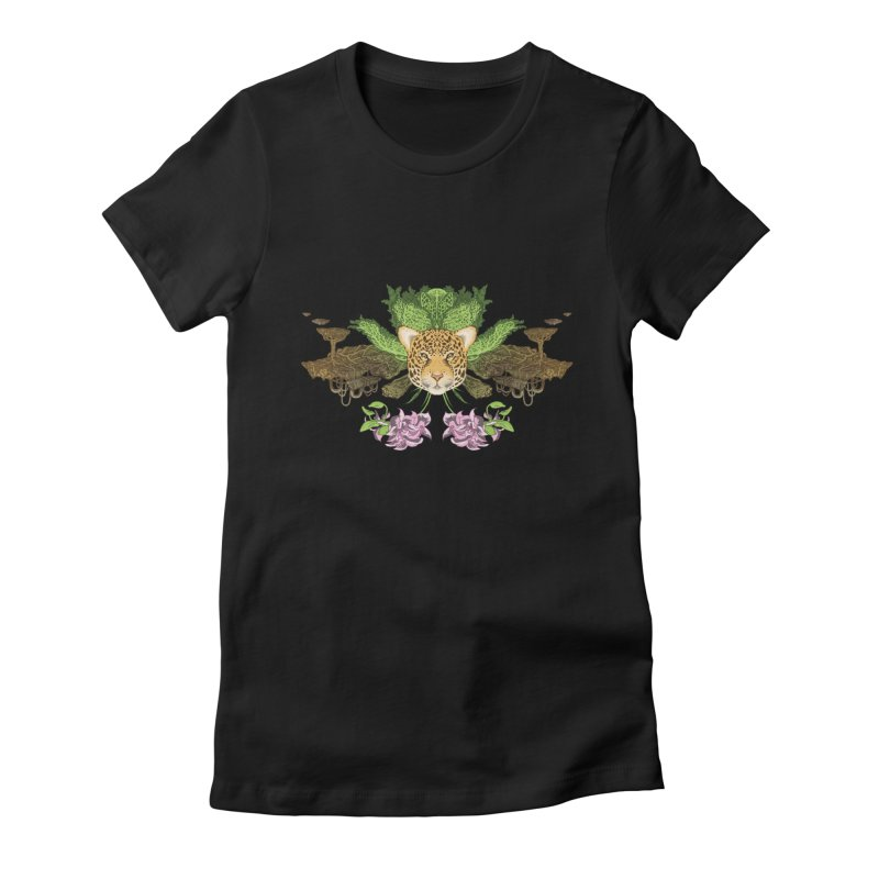 Jaguar flower Women's Fitted T-Shirt by zonka's Artist Shop