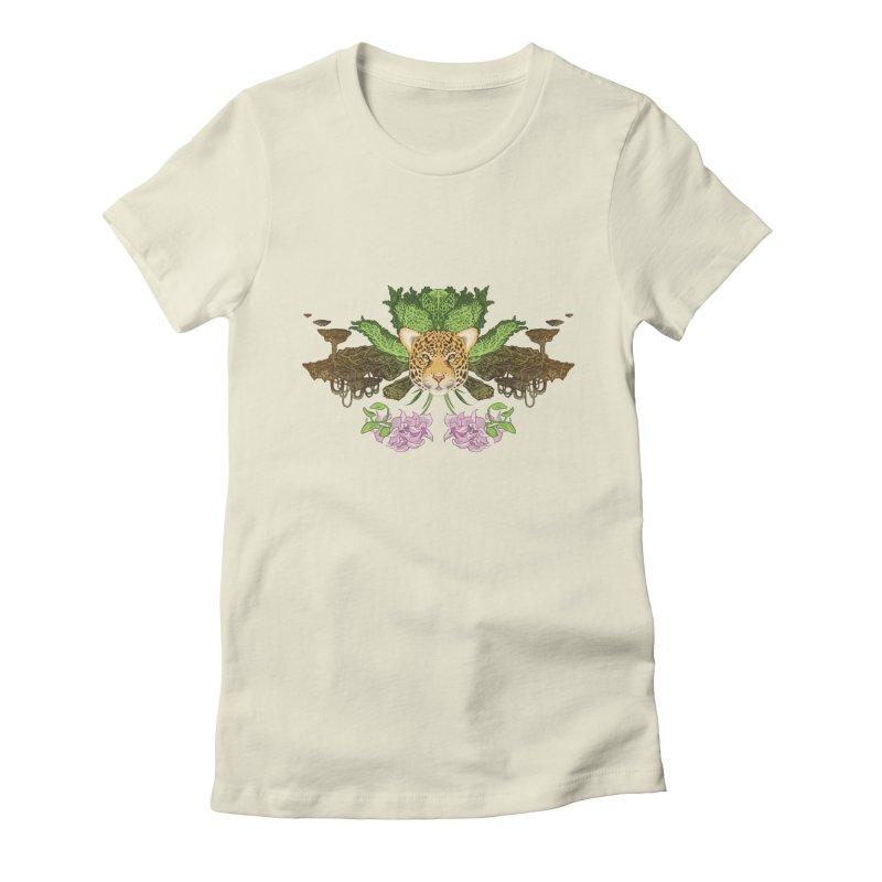Jaguar flower Women's Fitted T-Shirt by zonka's Artist Shop