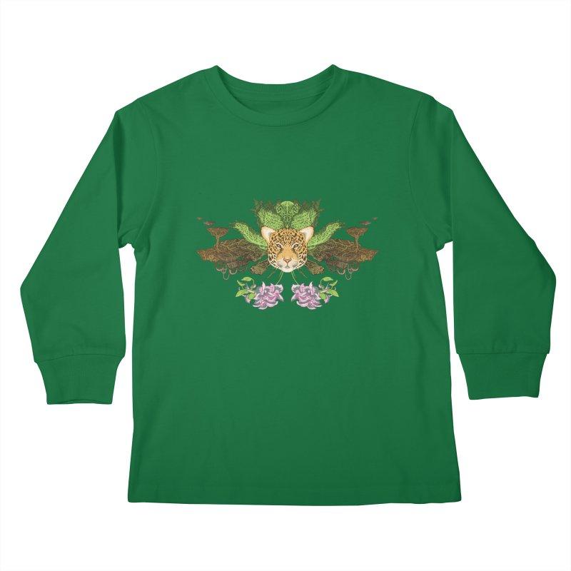 Jaguar flower Kids Longsleeve T-Shirt by Aaron Zonka's Artist Shop