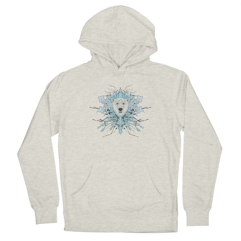 Polar bear snowflake Men's French Terry Pullover Hoody by zonka's Artist Shop