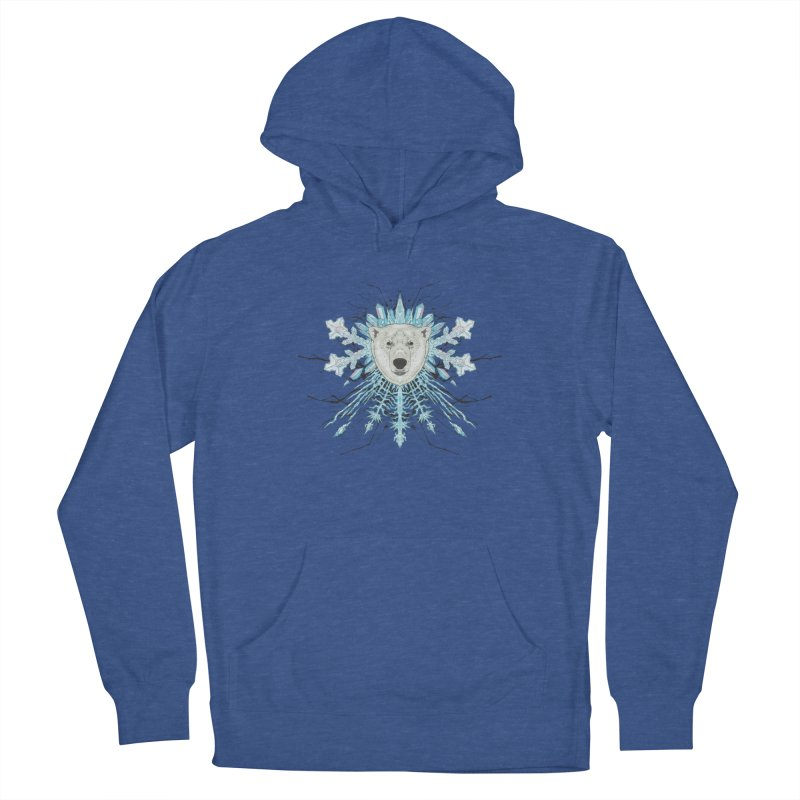Polar bear snowflake Women's French Terry Pullover Hoody by zonka's Artist Shop
