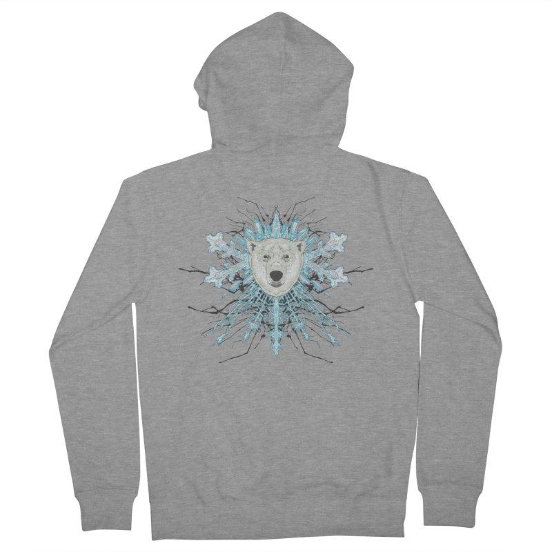 Polar bear snowflake Men's Zip-Up Hoody by zonka's Artist Shop