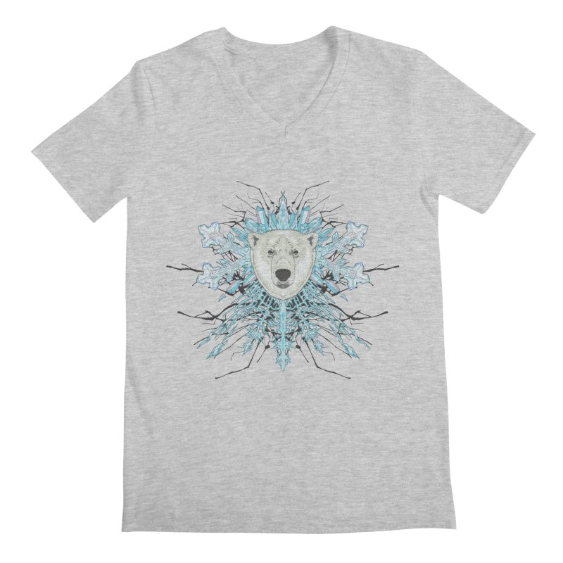 Polar bear snowflake Men's V-Neck by zonka's Artist Shop