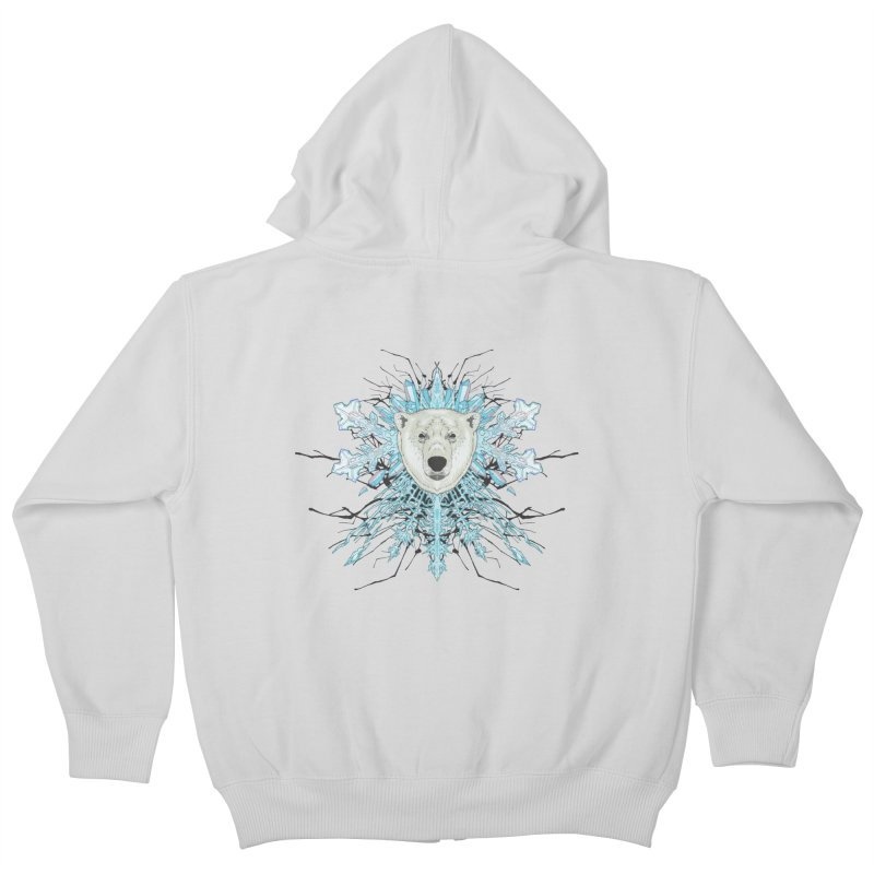 Polar bear snowflake Kids Zip-Up Hoody by zonka's Artist Shop