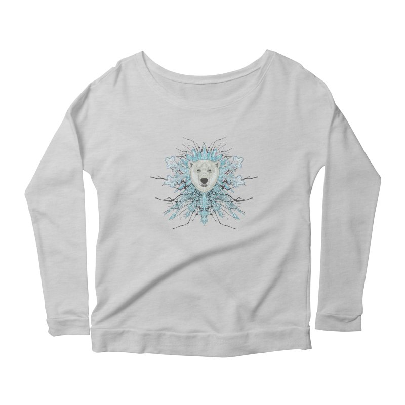 Polar bear snowflake Women's Scoop Neck Longsleeve T-Shirt by zonka's Artist Shop