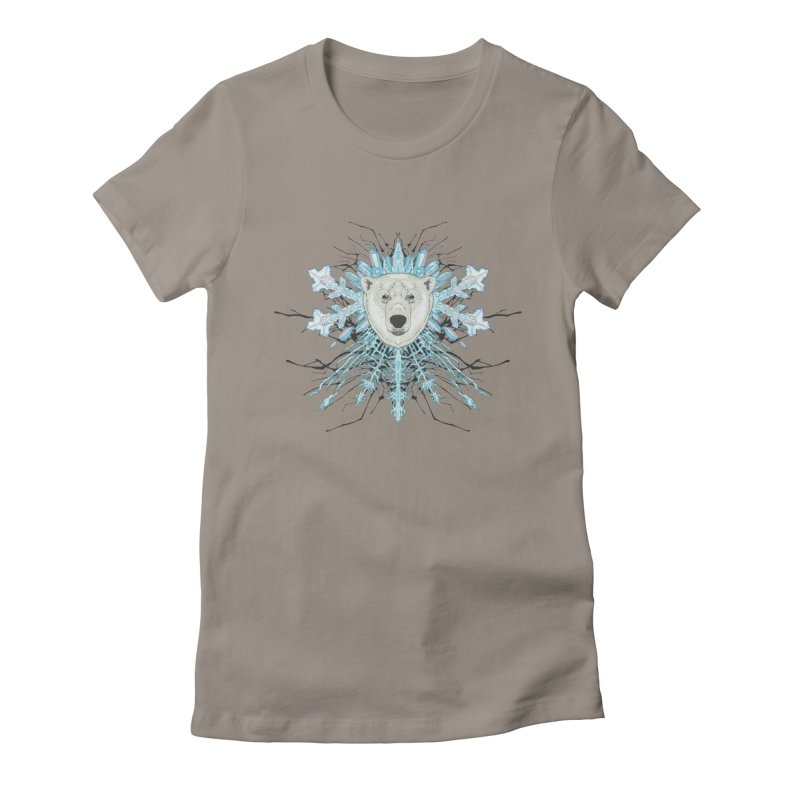 Polar bear snowflake Women's Fitted T-Shirt by zonka's Artist Shop