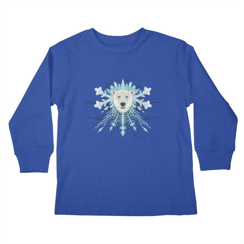 Polar bear snowflake Kids Longsleeve T-Shirt by zonka's Artist Shop