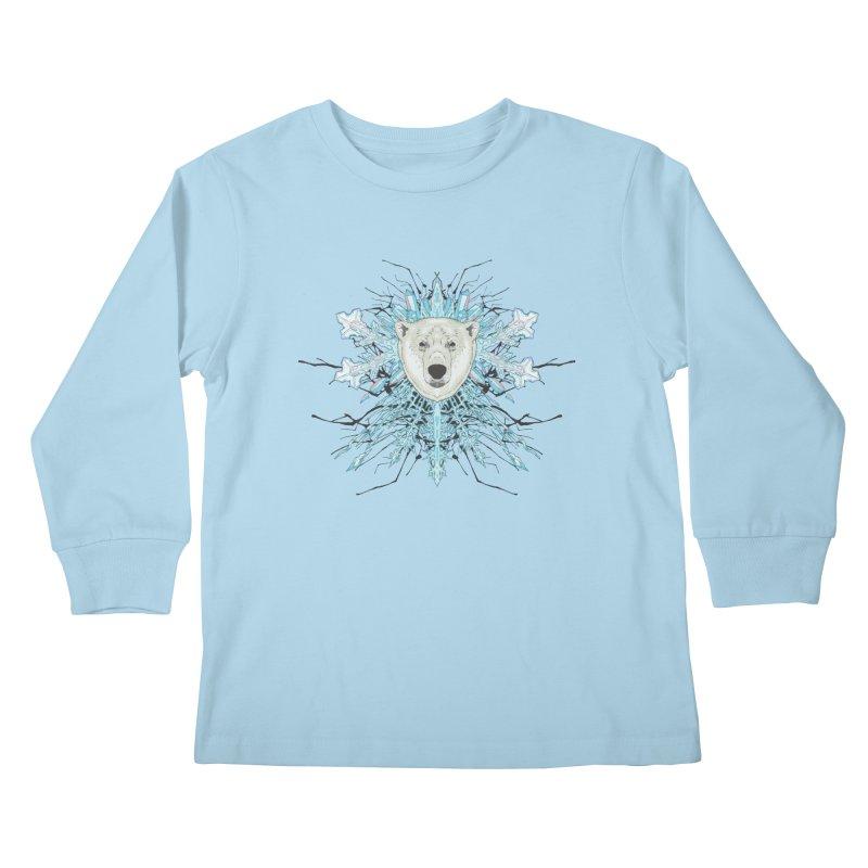 Polar bear snowflake Kids Longsleeve T-Shirt by Aaron Zonka's Artist Shop