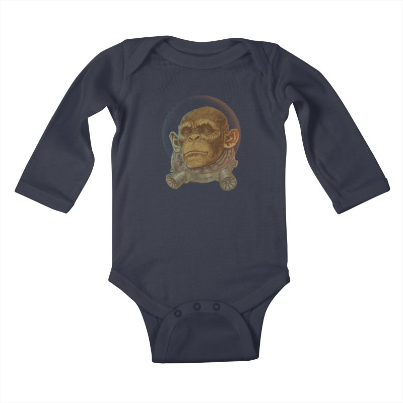 Space ape Kids Baby Longsleeve Bodysuit by Aaron Zonka's Artist Shop