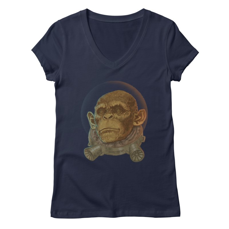 Space ape Women's V-Neck by Aaron Zonka's Artist Shop
