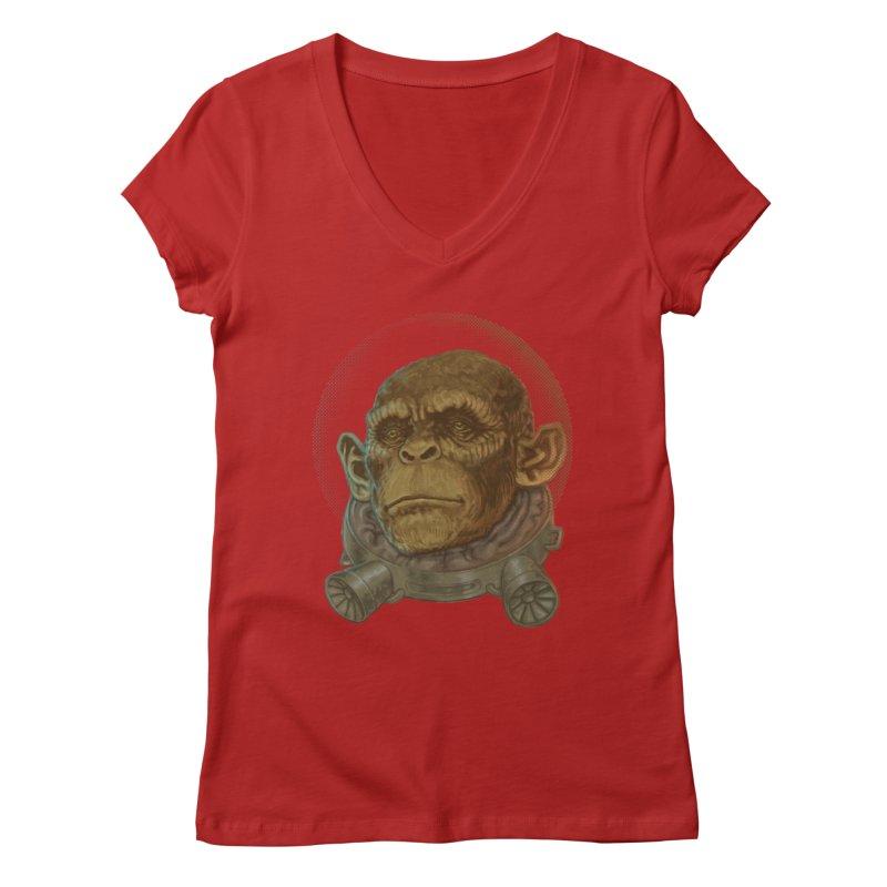 Space ape Women's V-Neck by zonka's Artist Shop