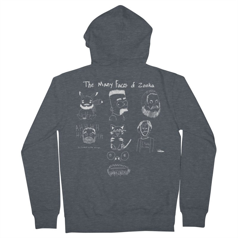The many faces of Zonka white Women's Zip-Up Hoody by zonka's Artist Shop