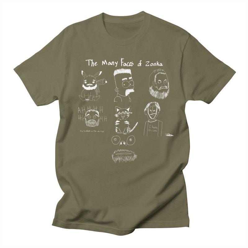 The many faces of Zonka white Women's Unisex T-Shirt by zonka's Artist Shop
