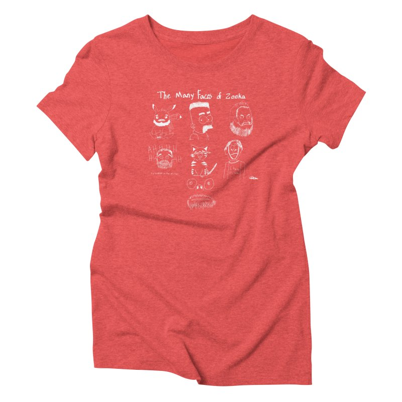 The many faces of Zonka white Women's Triblend T-shirt by zonka's Artist Shop