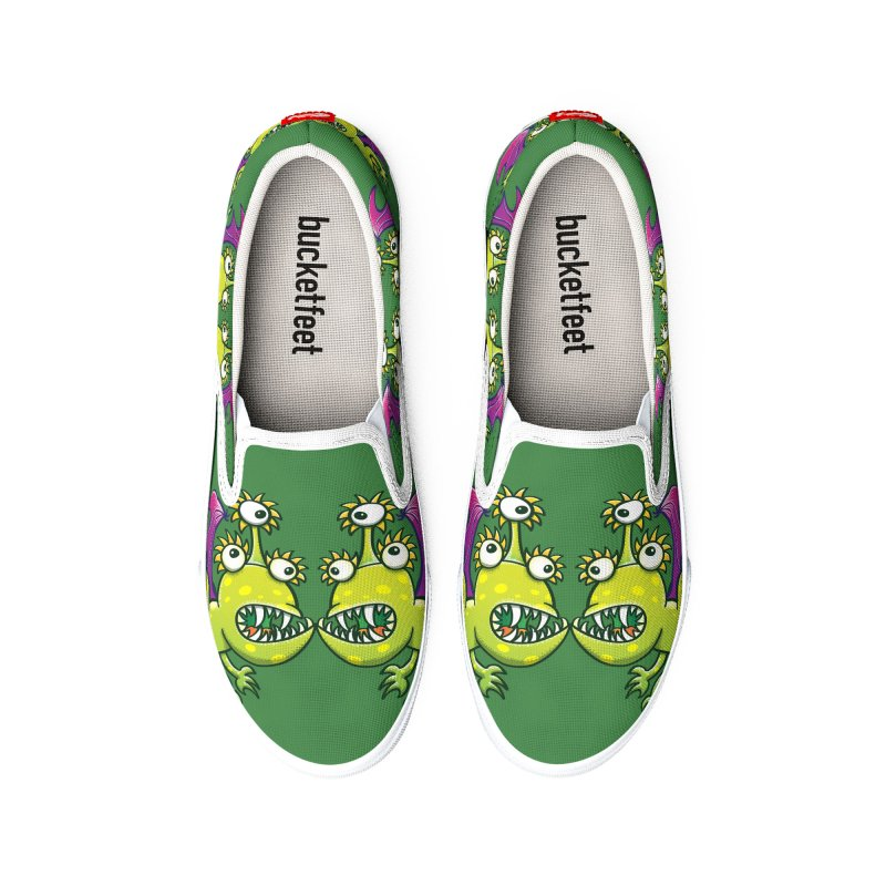Weird three-eyed monstrous dragons in a face to face confrontation Women's Shoes by Zoo&co's Artist Shop