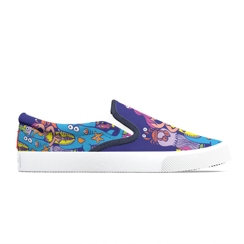 Surfer in trouble in a crowded sea in colorful doodle style Women's Shoes by Zoo&co's Artist Shop
