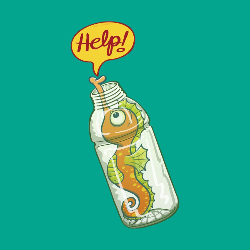 Worried seahorse trapped in a plastic bottle asking for help Accessories Button by Zoo&co's Artist Shop