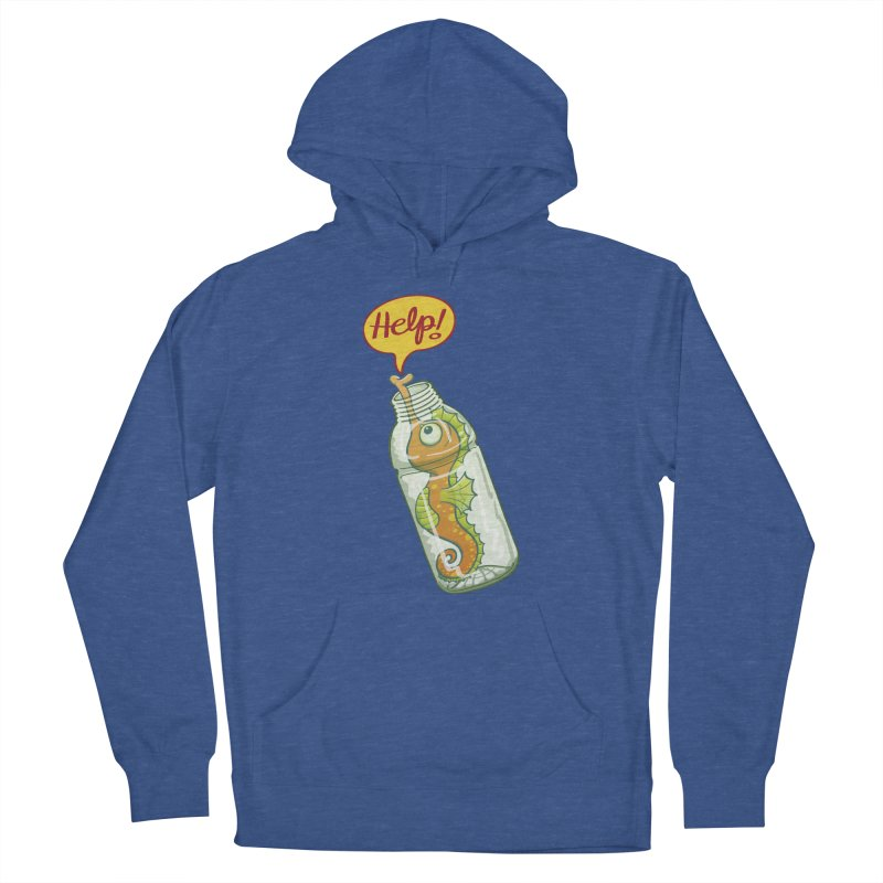 Worried seahorse trapped in a plastic bottle asking for help Women's Pullover Hoody by Zoo&co's Artist Shop