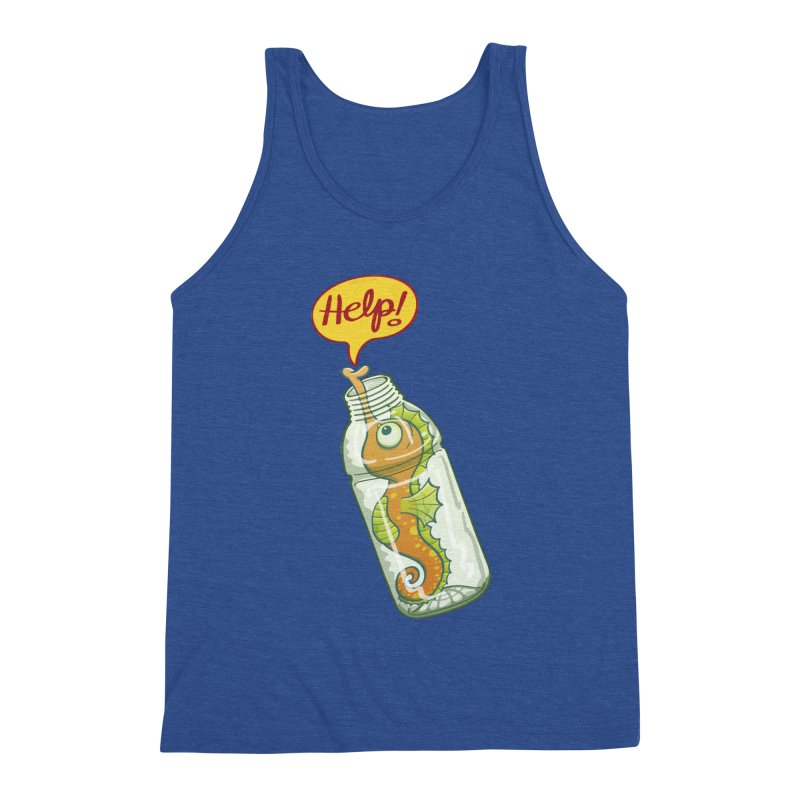 Worried seahorse trapped in a plastic bottle asking for help Men's Tank by Zoo&co's Artist Shop