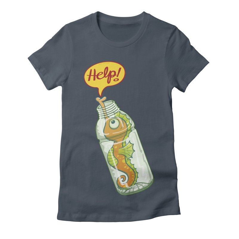 Worried seahorse trapped in a plastic bottle asking for help Women's T-Shirt by Zoo&co's Artist Shop