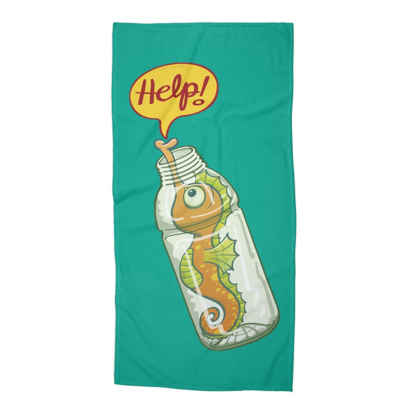 Worried seahorse trapped in a plastic bottle asking for help Accessories Beach Towel by Zoo&co's Artist Shop