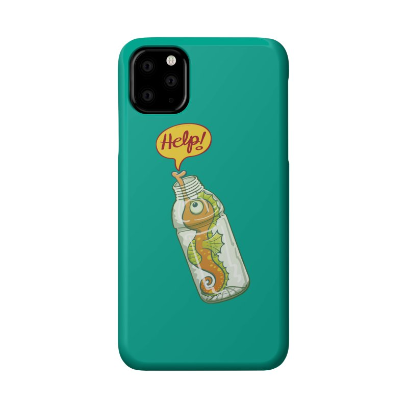 Worried seahorse trapped in a plastic bottle asking for help Accessories Phone Case by Zoo&co's Artist Shop