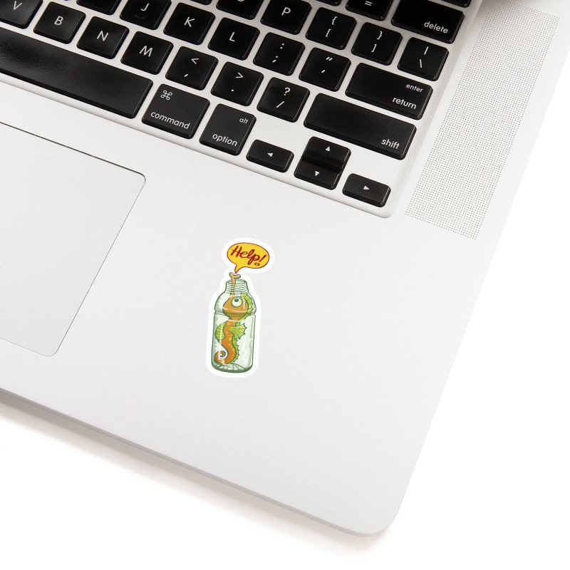 Worried seahorse trapped in a plastic bottle asking for help Accessories Sticker by Zoo&co's Artist Shop