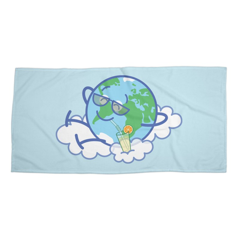Cool planet Earth taking a well deserved break Accessories Beach Towel by Zoo&co's Artist Shop
