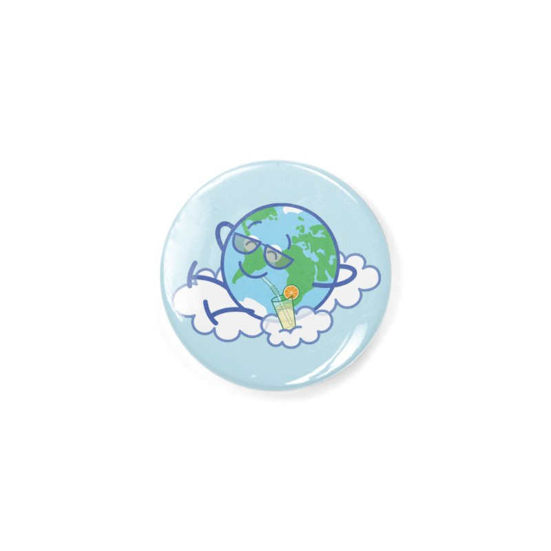 Cool planet Earth taking a well deserved break Accessories Button by Zoo&co's Artist Shop