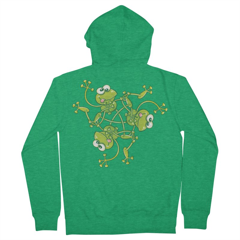 Green frogs waving and having fun while performing a cool choreography Women's Zip-Up Hoody by Zoo&co's Artist Shop