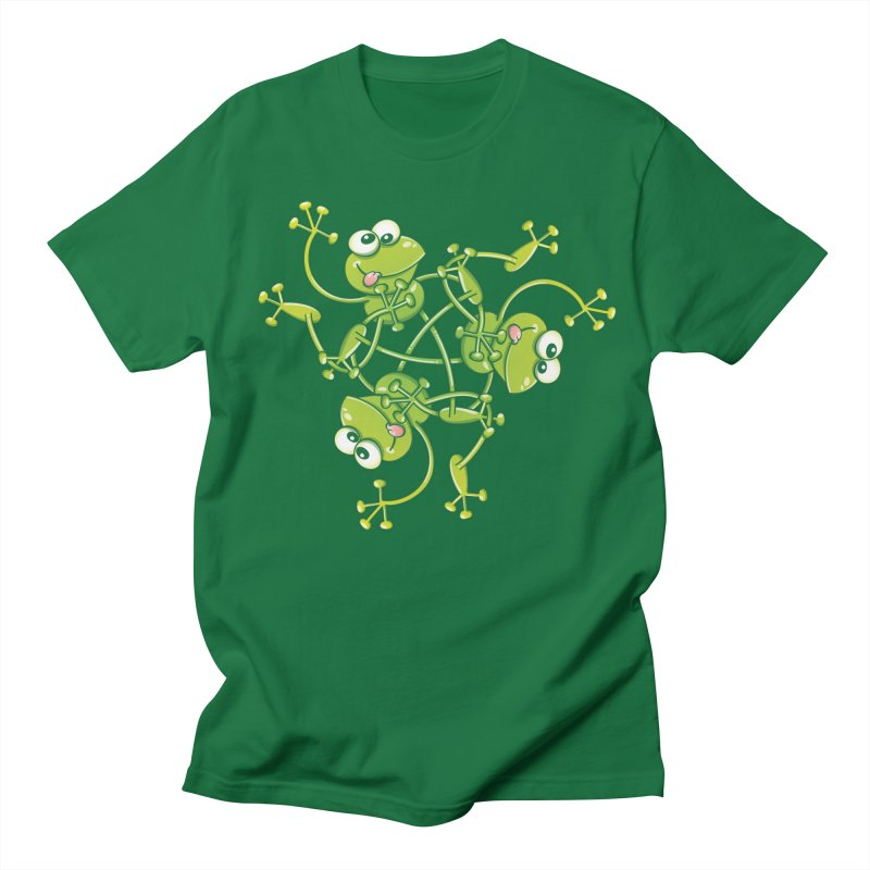 Green frogs waving and having fun while performing a cool choreography Men's T-Shirt by Zoo&co's Artist Shop