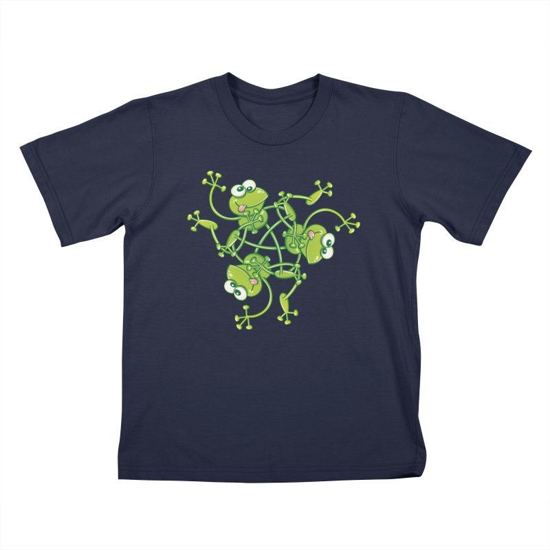 Green frogs waving and having fun while performing a cool choreography Kids T-Shirt by Zoo&co's Artist Shop