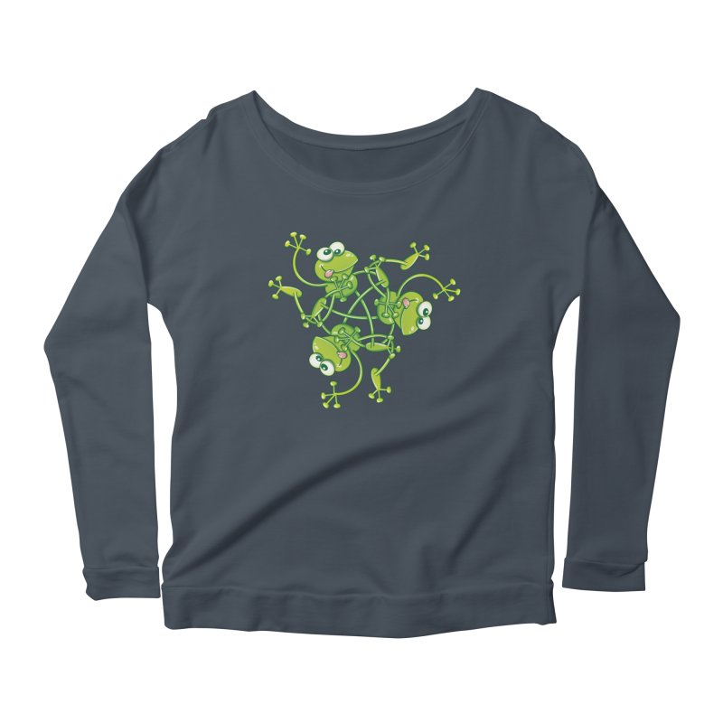 Green frogs waving and having fun while performing a cool choreography Women's Longsleeve T-Shirt by Zoo&co's Artist Shop