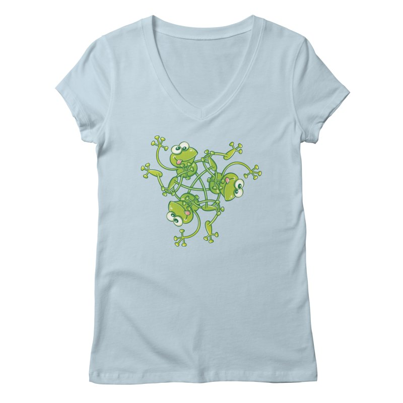 Green frogs waving and having fun while performing a cool choreography Women's V-Neck by Zoo&co's Artist Shop