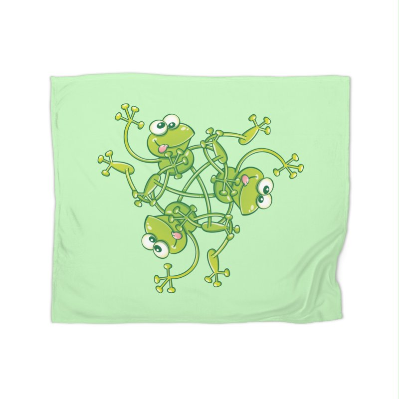 Green frogs waving and having fun while performing a cool choreography Home Blanket by Zoo&co's Artist Shop