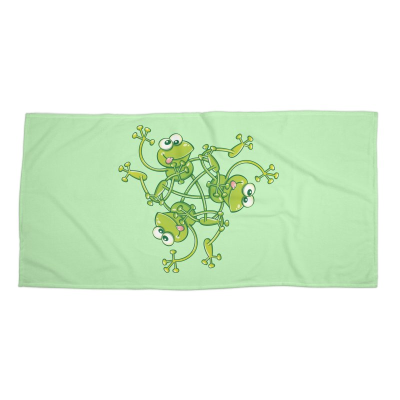 Green frogs waving and having fun while performing a cool choreography Accessories Beach Towel by Zoo&co's Artist Shop
