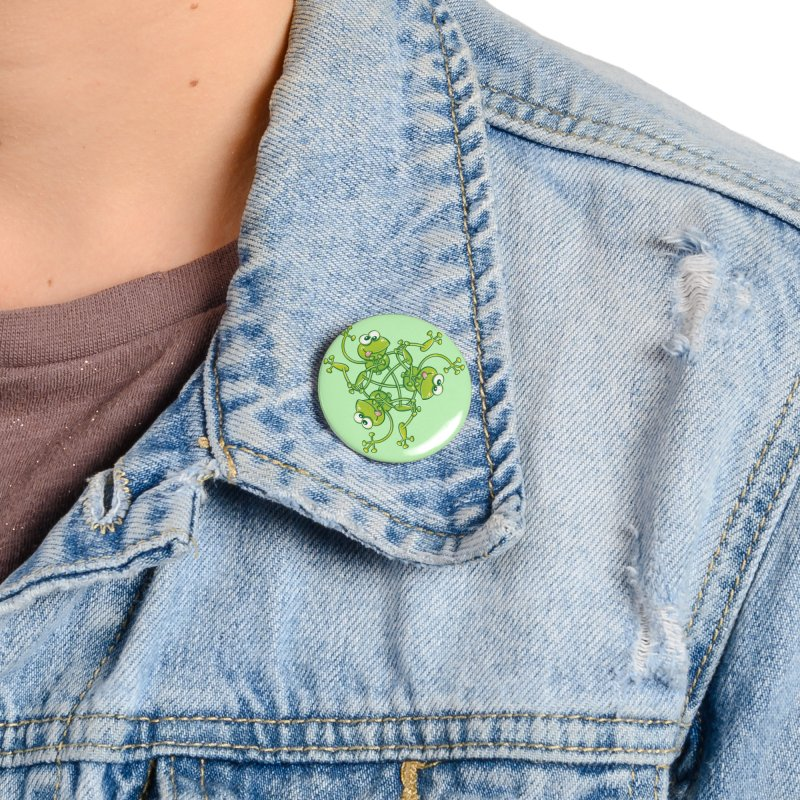 Green frogs waving and having fun while performing a cool choreography Accessories Button by Zoo&co's Artist Shop