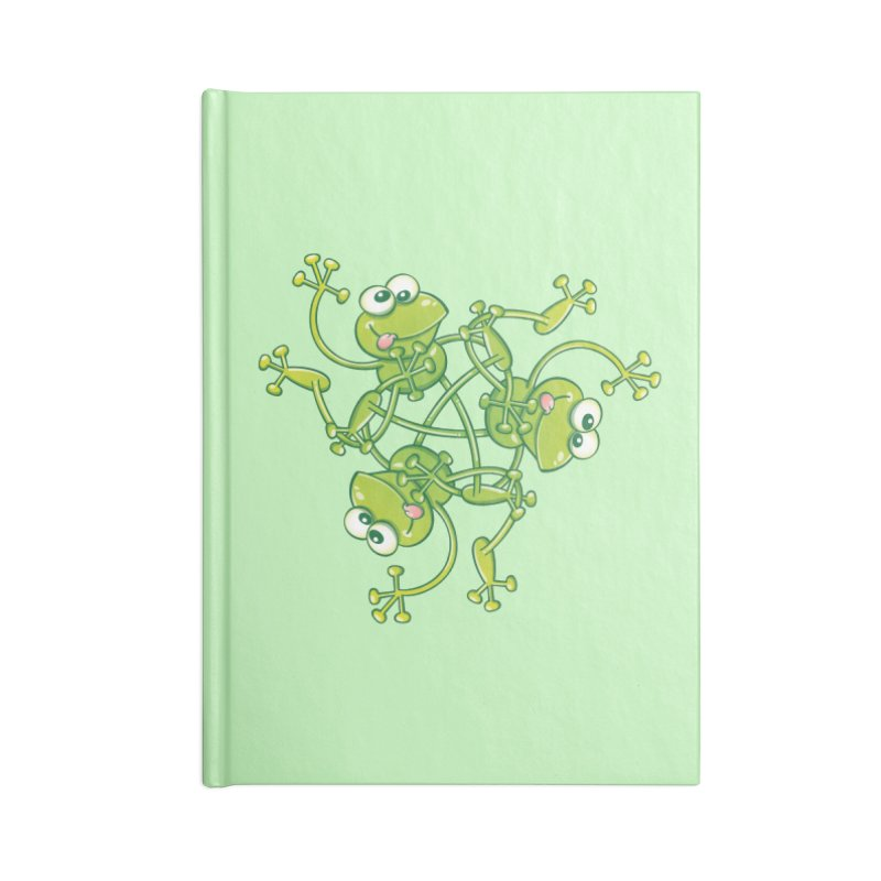 Green frogs waving and having fun while performing a cool choreography Accessories Notebook by Zoo&co's Artist Shop