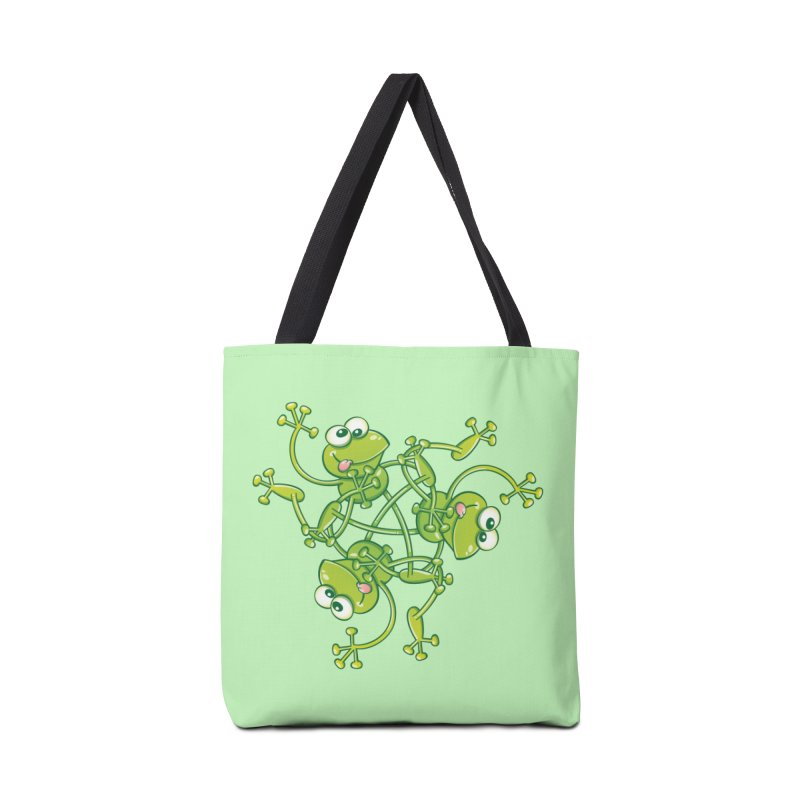 Green frogs waving and having fun while performing a cool choreography Accessories Bag by Zoo&co's Artist Shop
